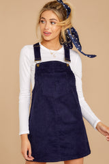 6 Collegiate Cutie Navy Corduroy Jumper at reddressboutique.com