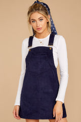 7 Collegiate Cutie Navy Corduroy Jumper at reddressboutique.com