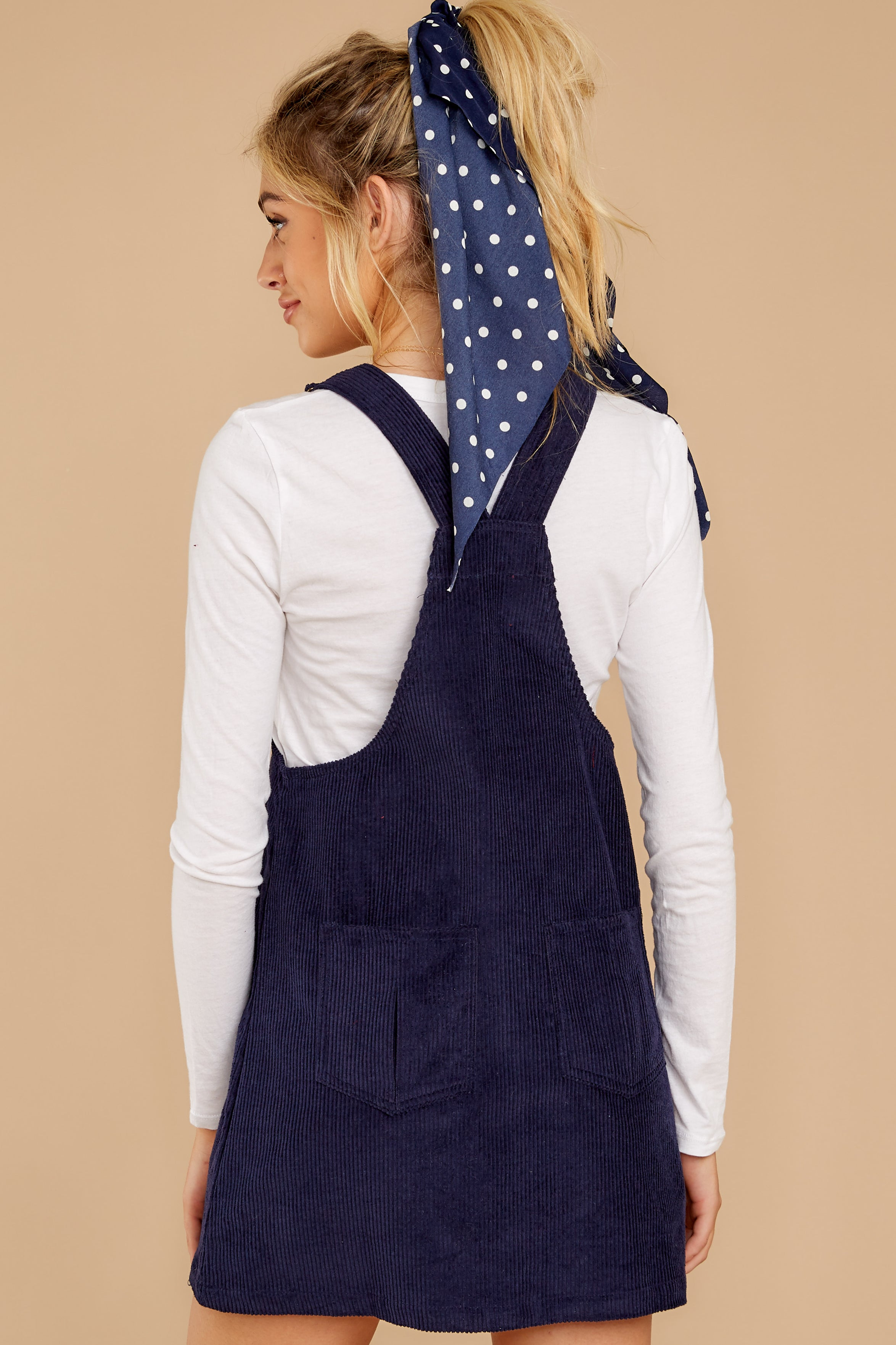 8 Collegiate Cutie Navy Corduroy Jumper at reddressboutique.com