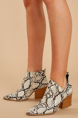 5 From The Valley Snakeskin Ankle Booties at reddressboutique.com
