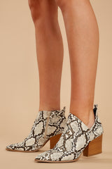 4 From The Valley Snakeskin Ankle Booties at reddressboutique.com