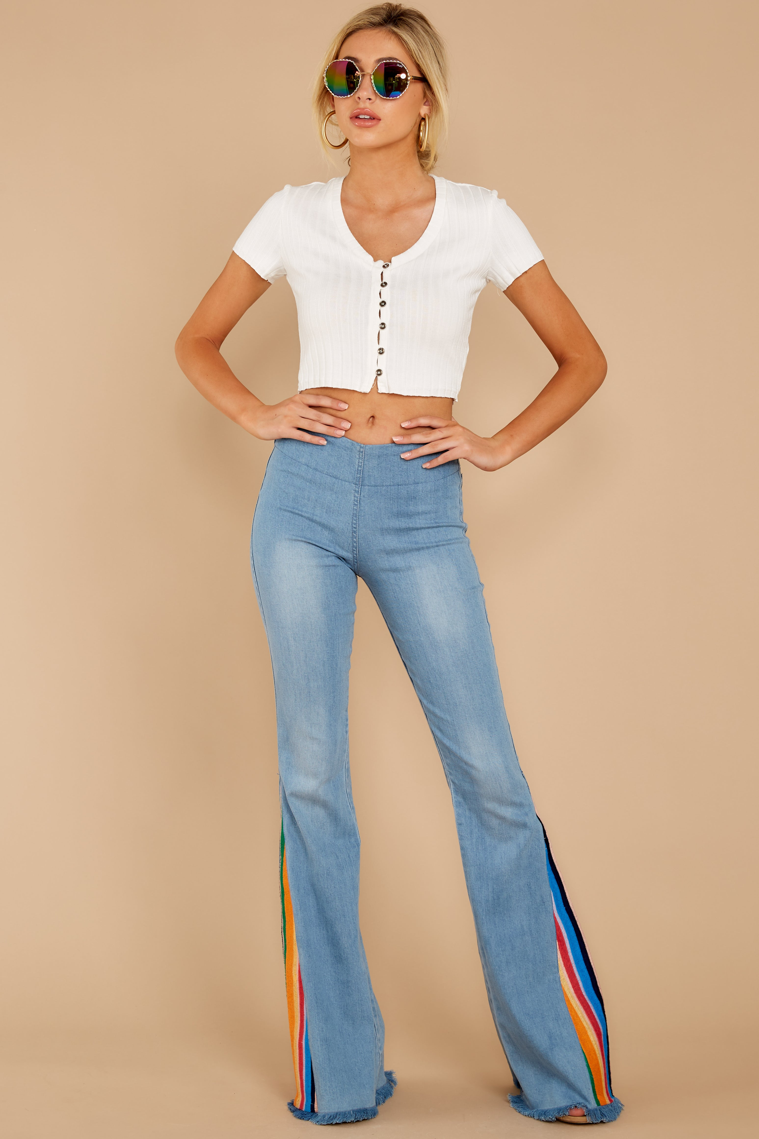 5 Retro Rainbows Light Wash Embroidered Flare Jeans at reddress.com