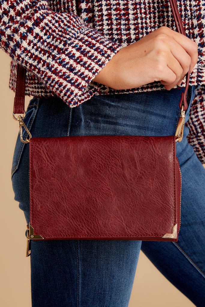 1 In Line With Style Burgundy Clutch at reddress.com