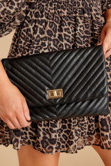 1 In Line With Style Black Clutch at reddressboutique.com