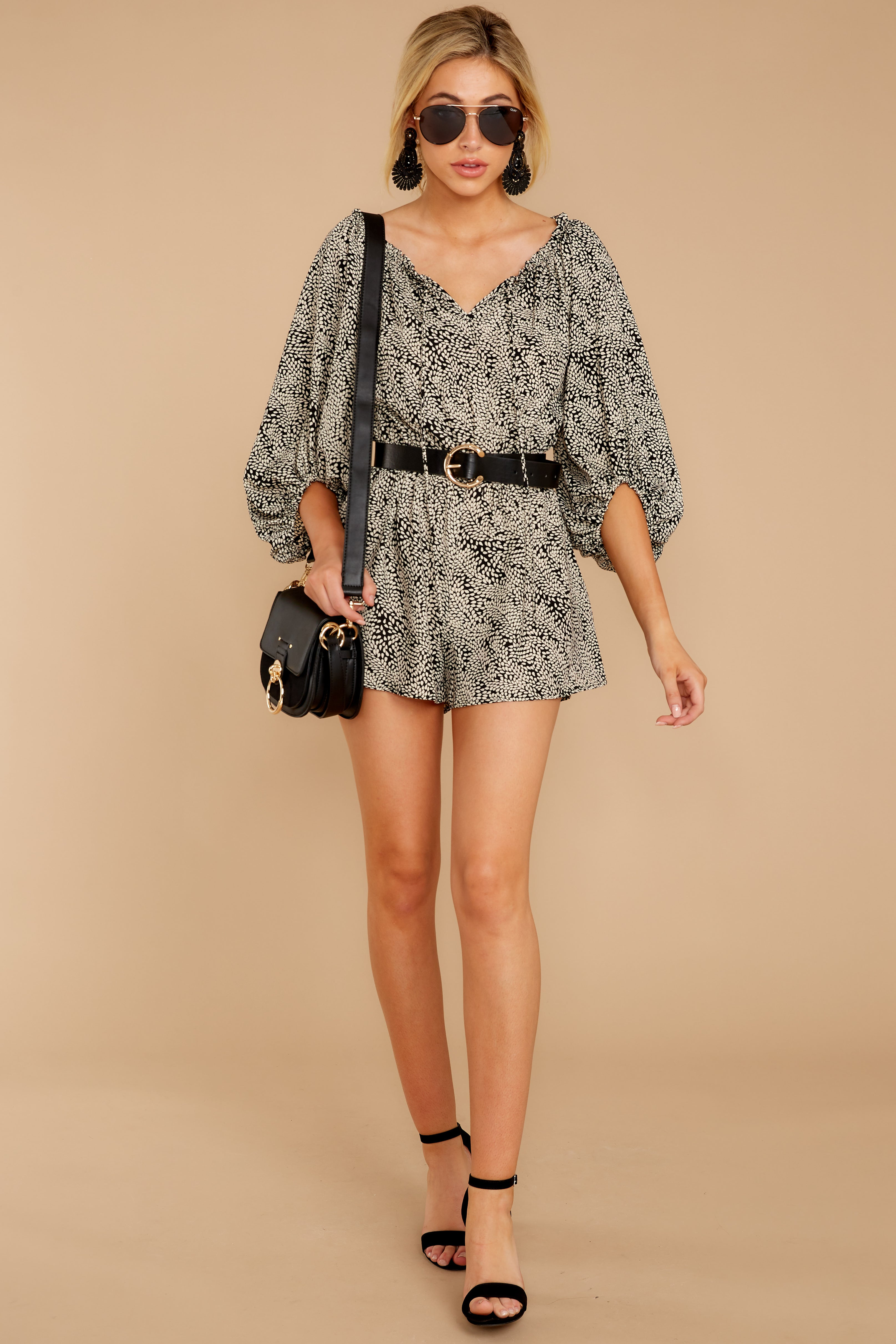 1 Dream By Night Black And Ivory Print Romper at reddressboutique.com