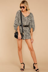 4 Dream By Night Black And Ivory Print Romper at reddressboutique.com