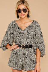 5 Dream By Night Black And Ivory Print Romper at reddressboutique.com