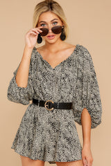 6 Dream By Night Black And Ivory Print Romper at reddressboutique.com