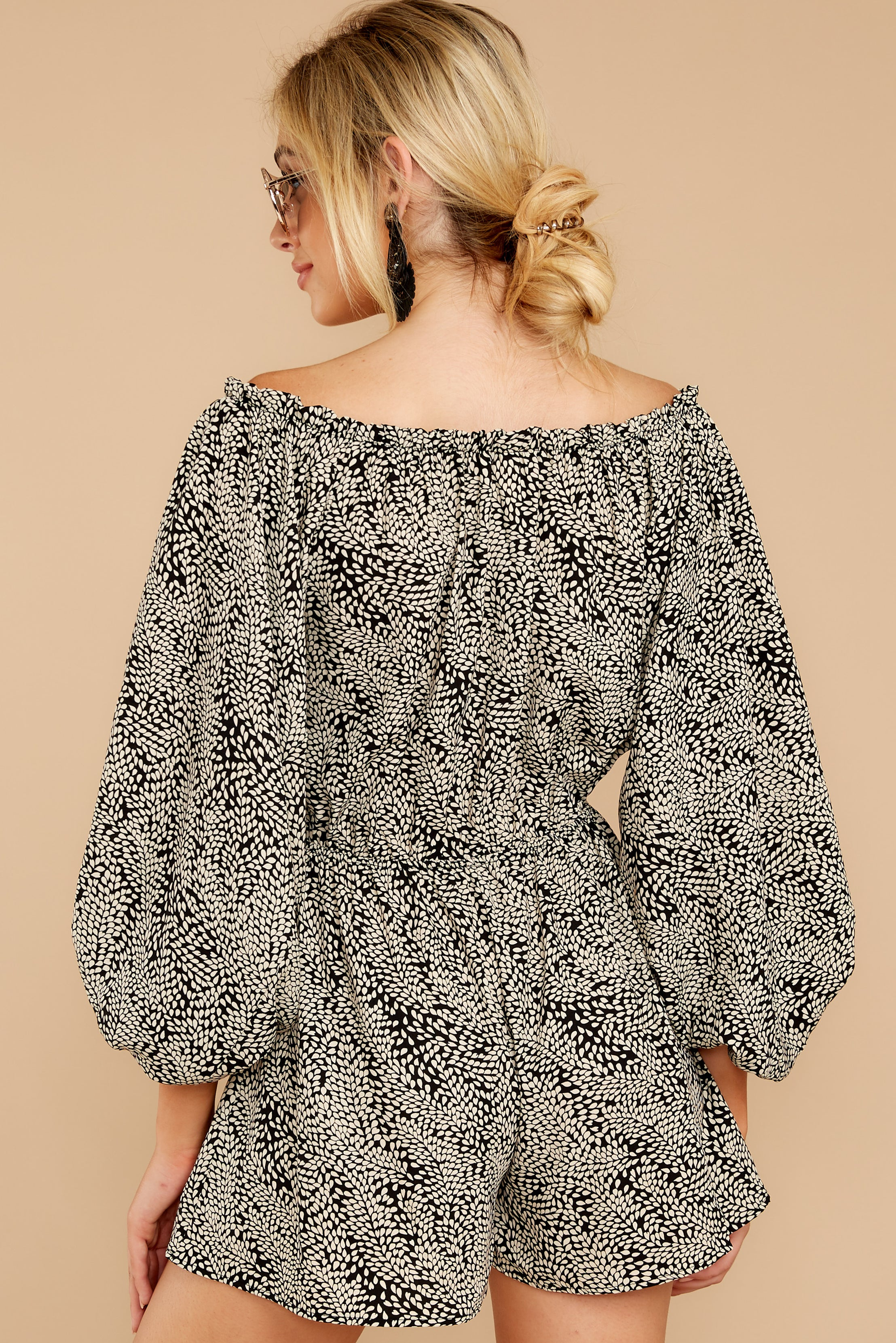9 Dream By Night Black And Ivory Print Romper at reddressboutique.com