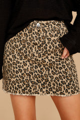 1 Beck And Call Leopard Print Denim Skirt at reddress.com