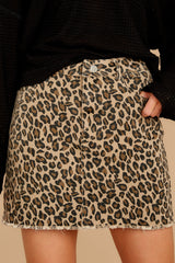 2 Beck And Call Leopard Print Denim Skirt at reddress.com
