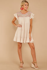 Through The Clouds Beige Embroidered Dress