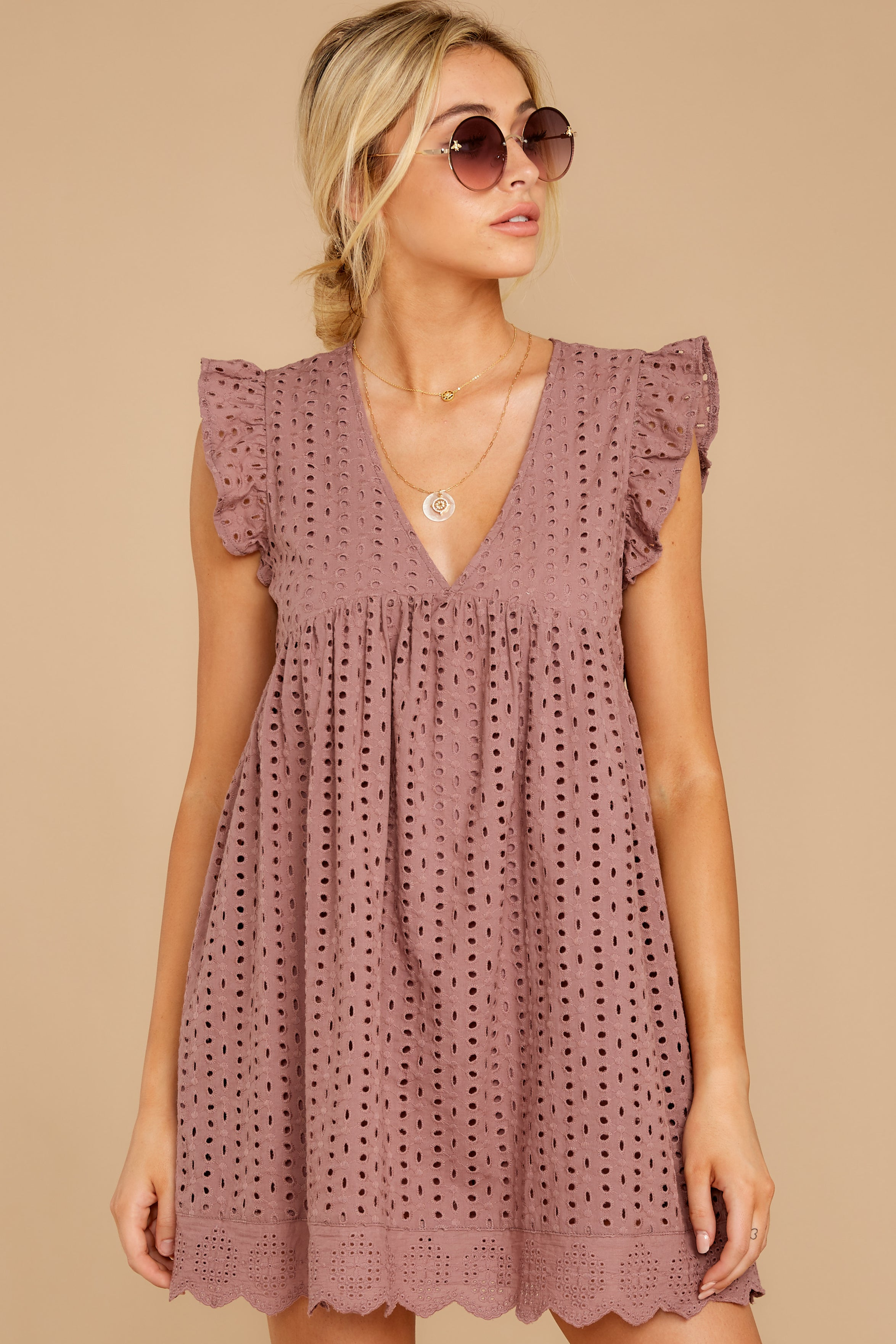 6 Keep A Secret Mauve Romper Dress at reddress.com