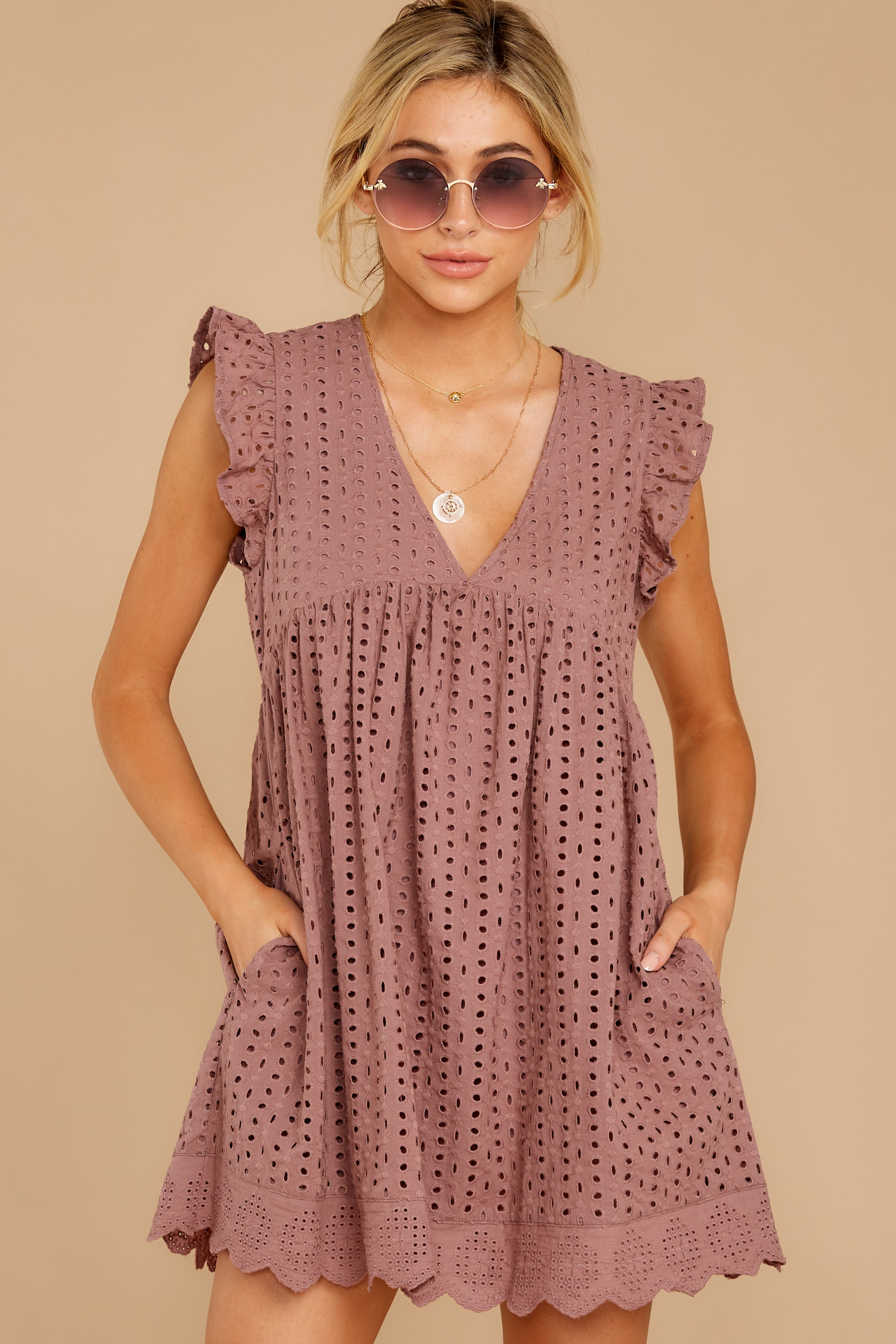 2 Keep A Secret Mauve Romper Dress at reddress.com