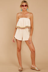3 Little Thing Called Love Beige Embroidered Romper at reddress.com