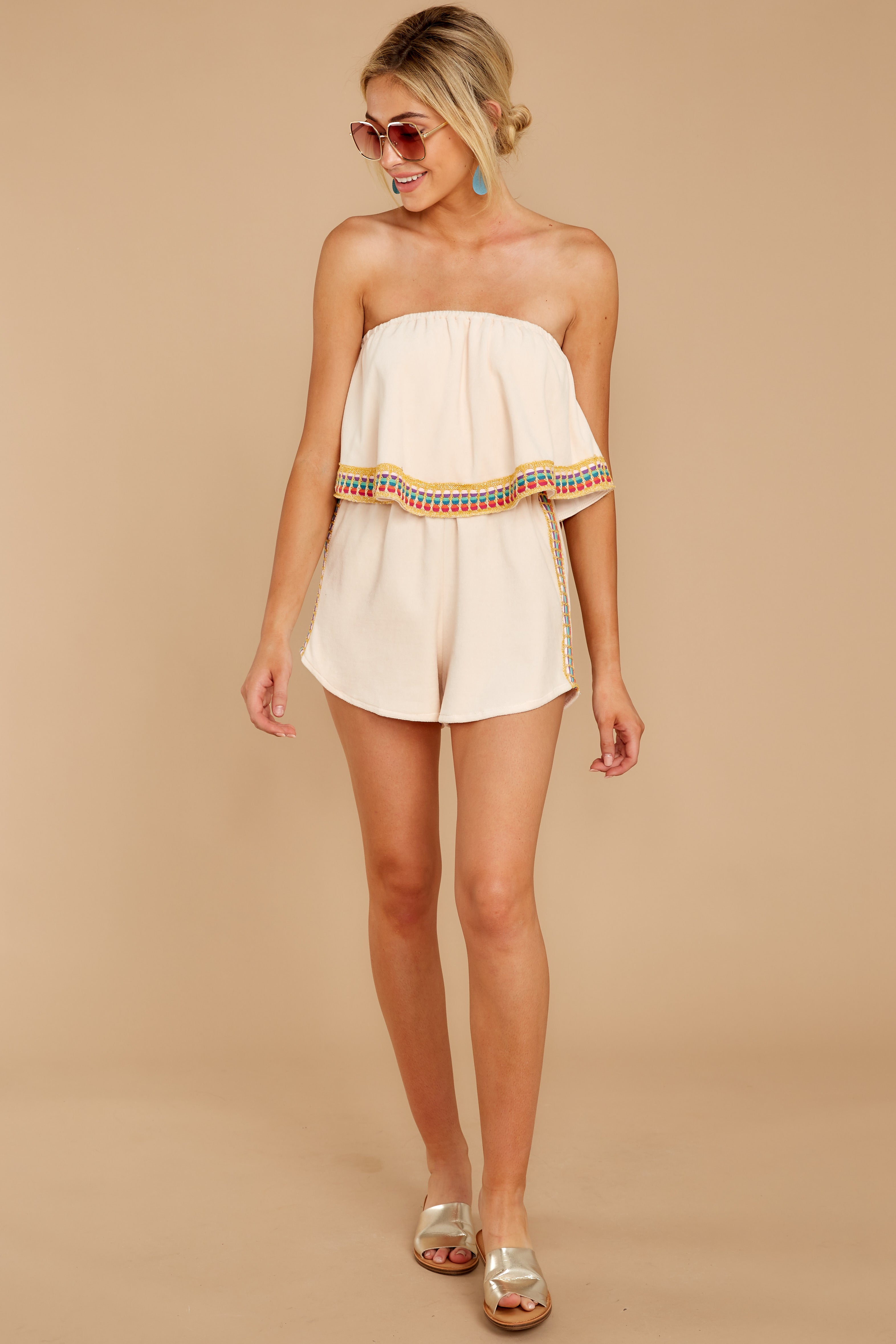 2 Little Thing Called Love Beige Embroidered Romper at reddress.com