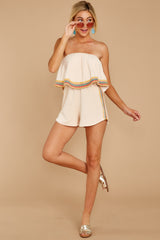 4 Little Thing Called Love Beige Embroidered Romper at reddress.com
