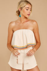 6 Little Thing Called Love Beige Embroidered Romper at reddress.com
