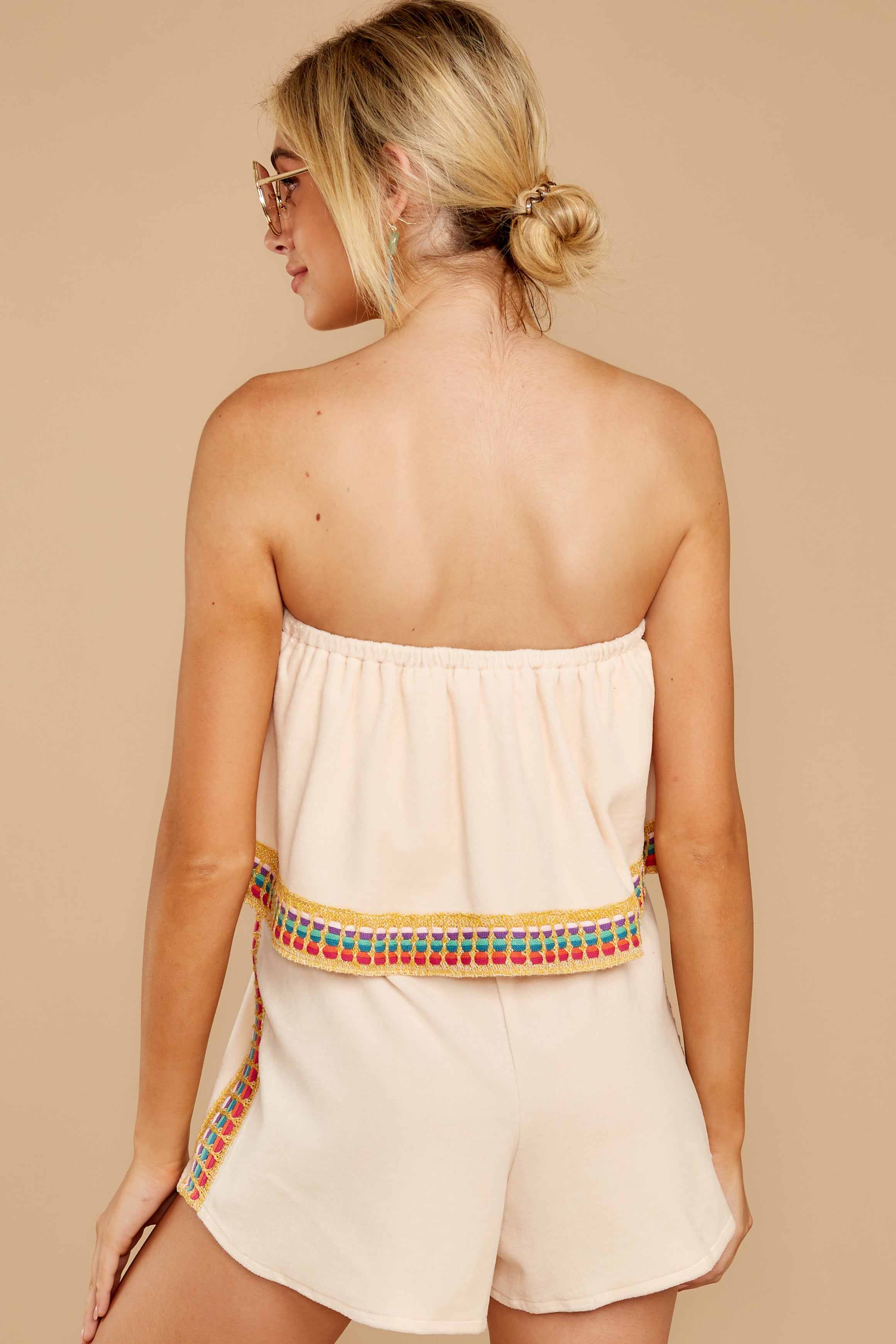 Little Thing Called Love Beige Embroidered Romper