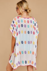 8 Life Is Fun White Multi Embroidered Cover Up at reddressboutique.com
