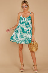 2 Follow Along With Me White And Green Palm Print Dress at reddressboutique.com