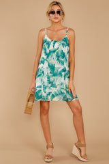 3 Follow Along With Me White And Green Palm Print Dress at reddressboutique.com