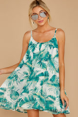 4 Follow Along With Me White And Green Palm Print Dress at reddressboutique.com