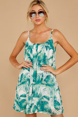 5 Follow Along With Me White And Green Palm Print Dress at reddressboutique.com