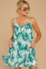 6 Follow Along With Me White And Green Palm Print Dress at reddressboutique.com