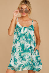 7 Follow Along With Me White And Green Palm Print Dress at reddressboutique.com