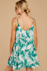 8 Follow Along With Me White And Green Palm Print Dress at reddressboutique.com