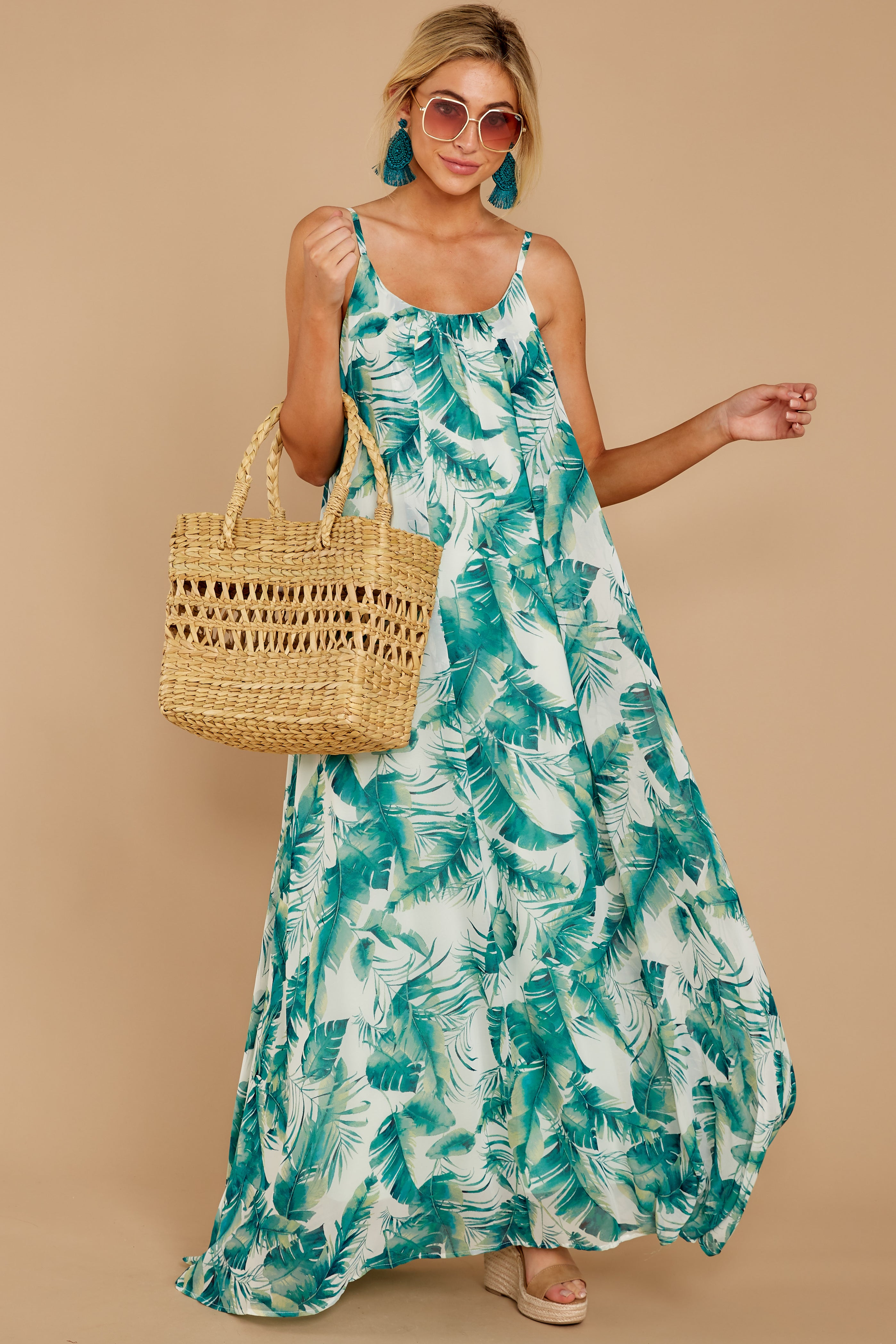 Something About It White And Green Palm Print Maxi Dress