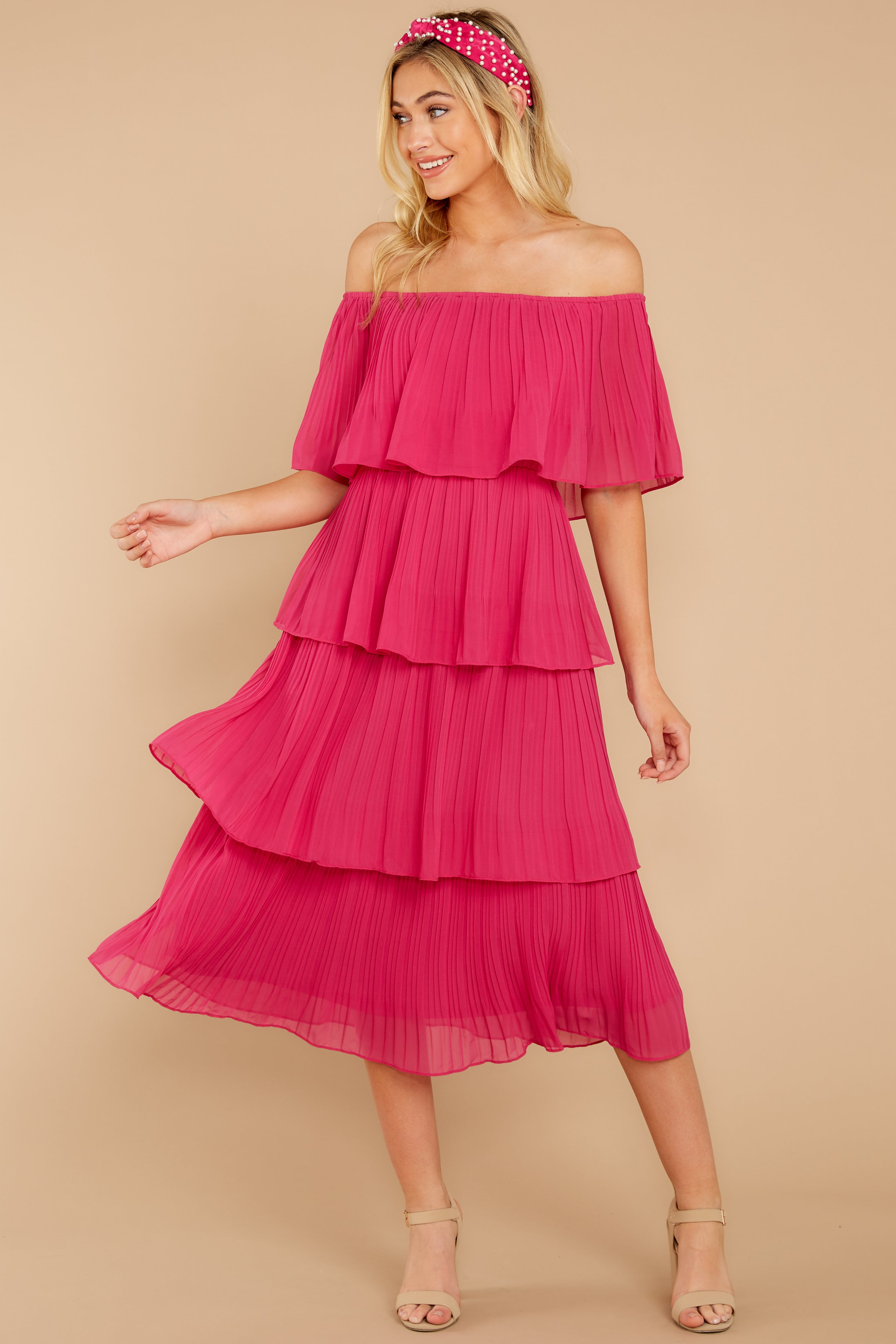 See It Happen Fuchsia Pink Midi Dress
