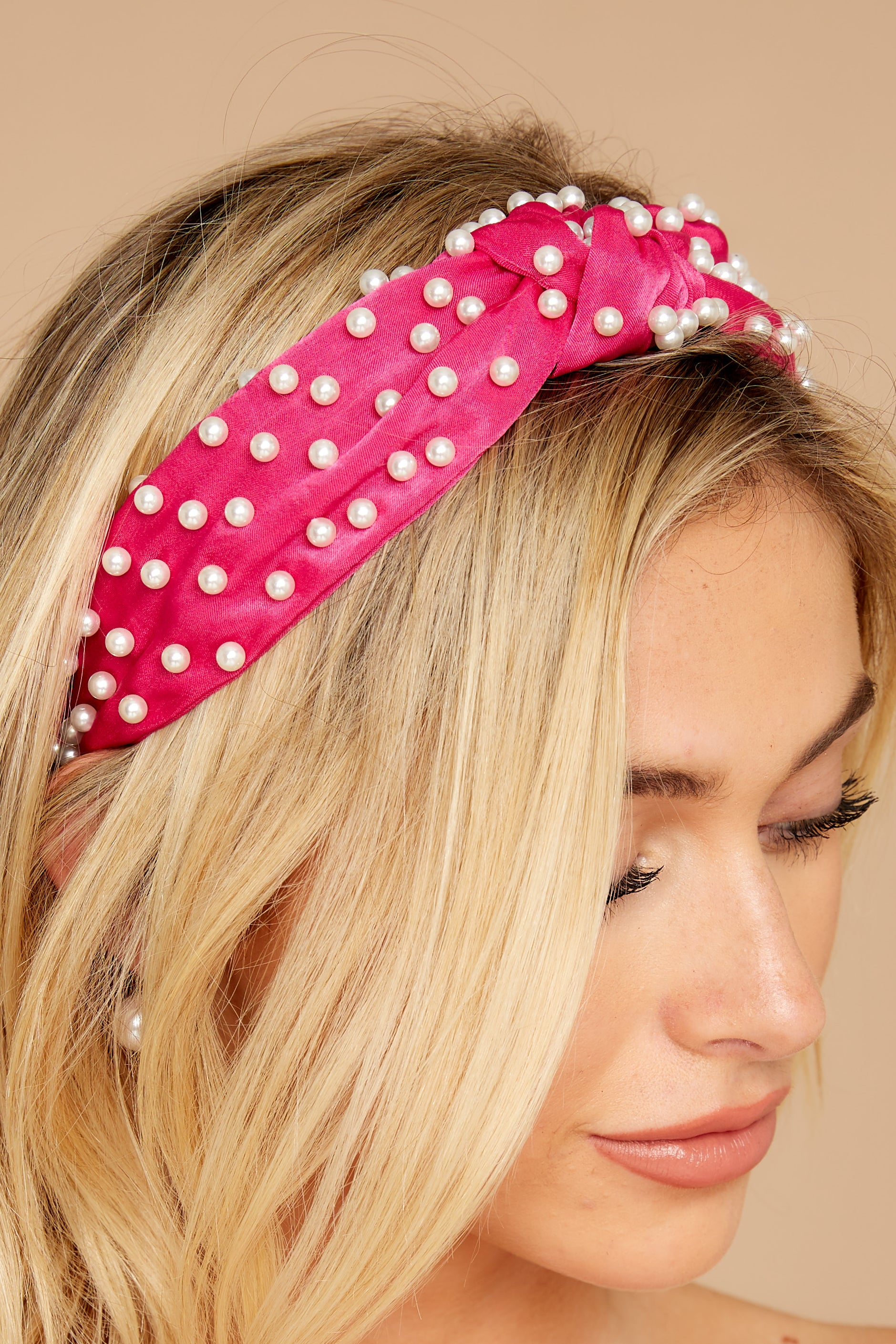 1 Small Talking Fuchsia Pearl Headband at reddressboutique.com