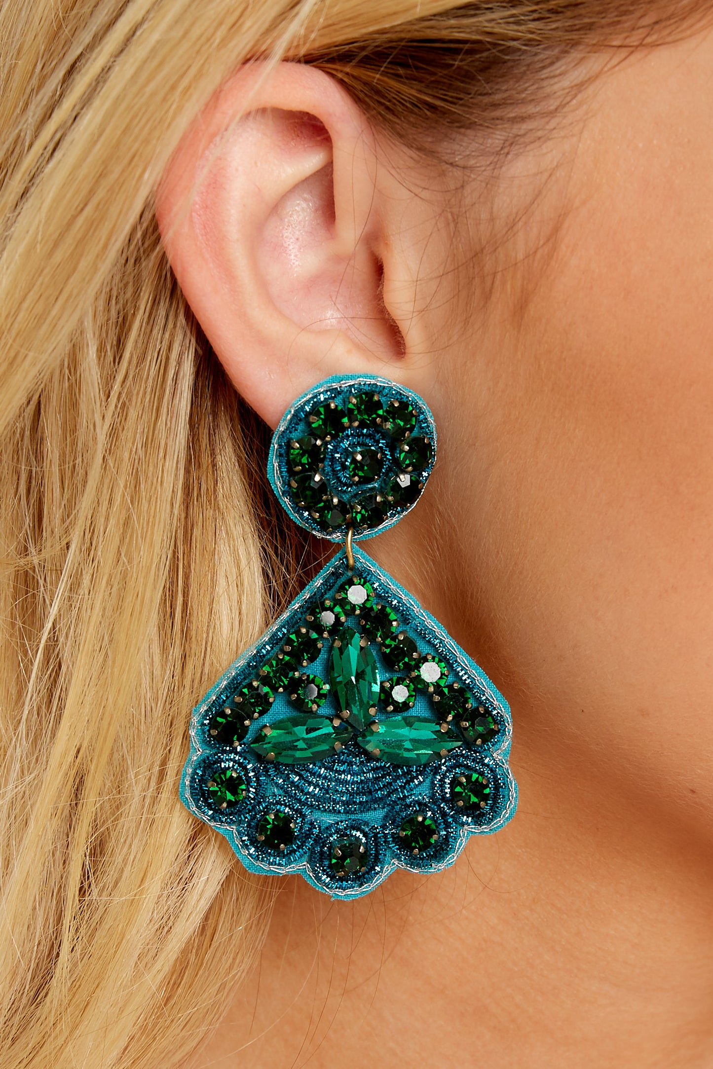 1 Everything You Want Dark Teal Earrings at reddressboutique.com