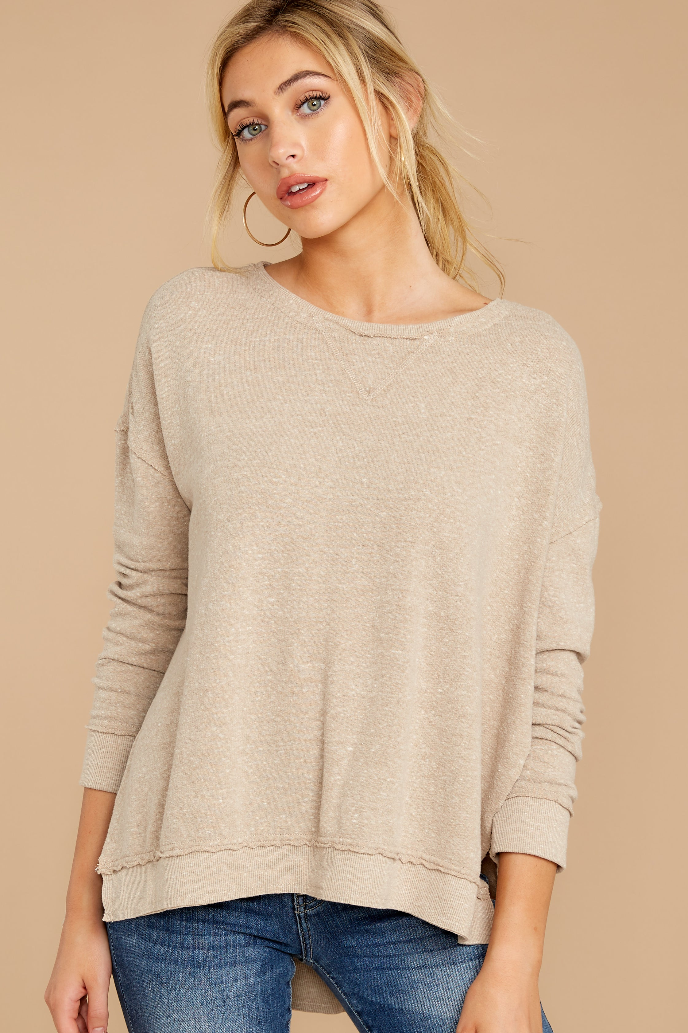 4 The Simply Taupe Triblend Vacay Pullover at reddressboutique.com