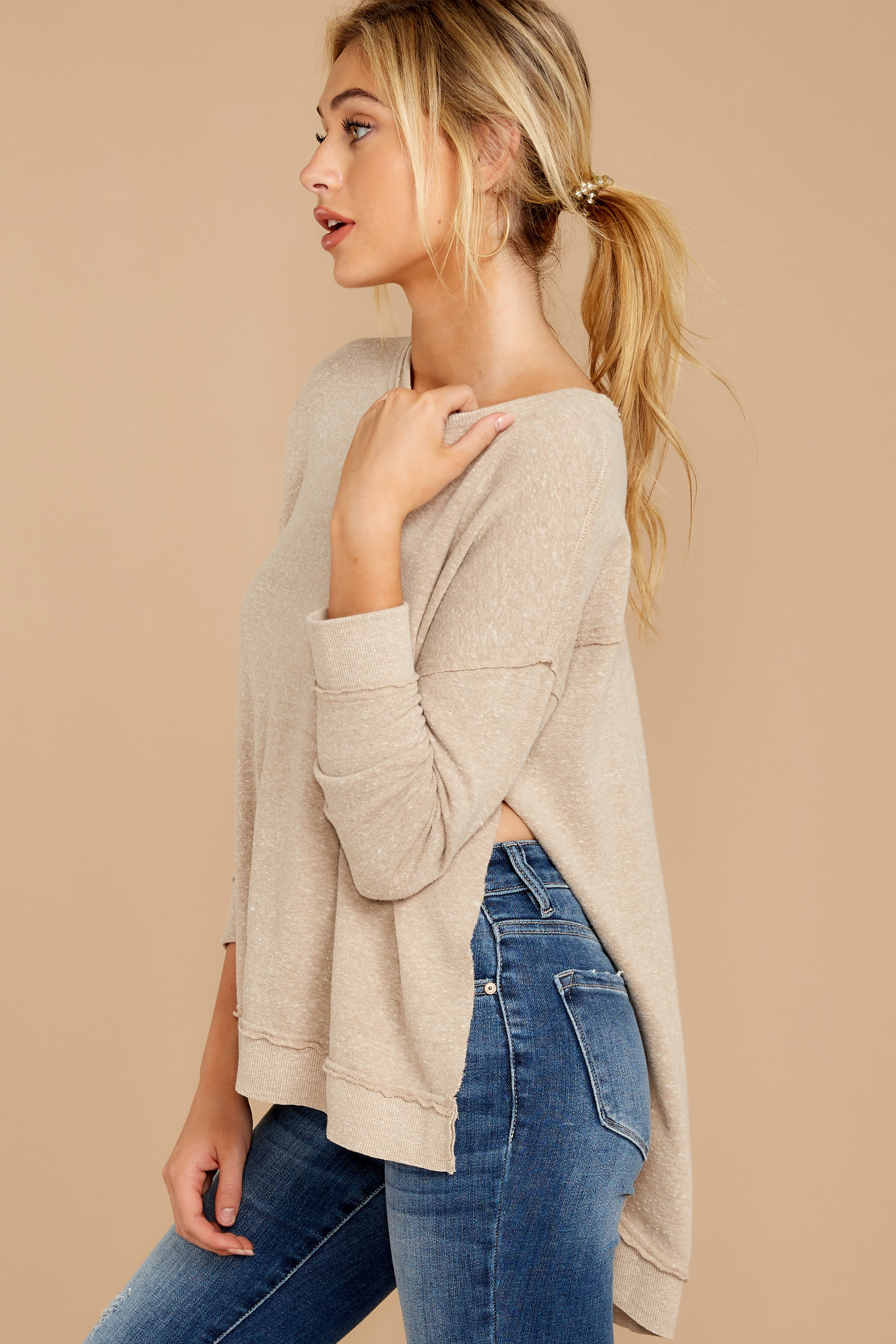 5 The Simply Taupe Triblend Vacay Pullover at reddressboutique.com