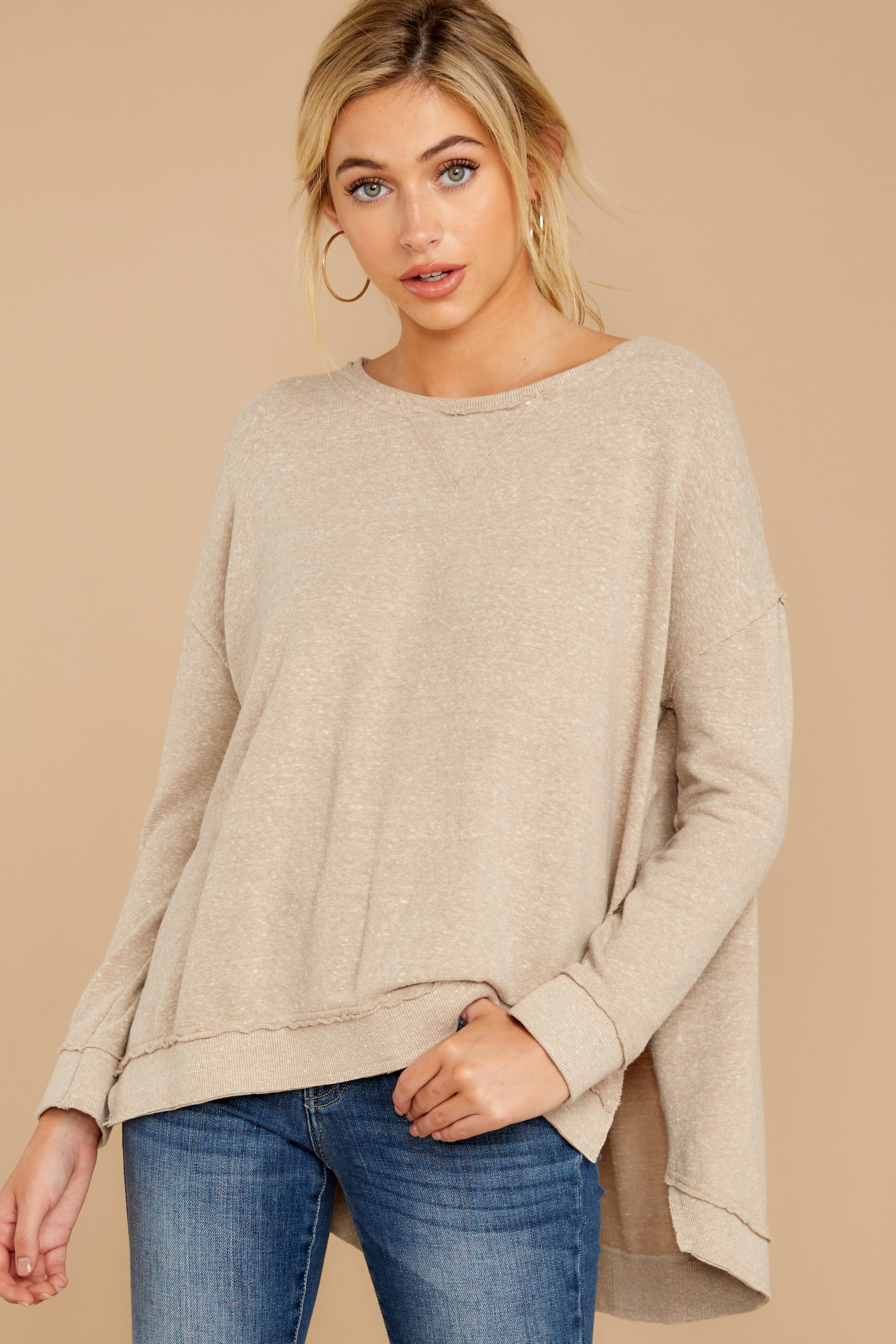 6 The Simply Taupe Triblend Vacay Pullover at reddressboutique.com