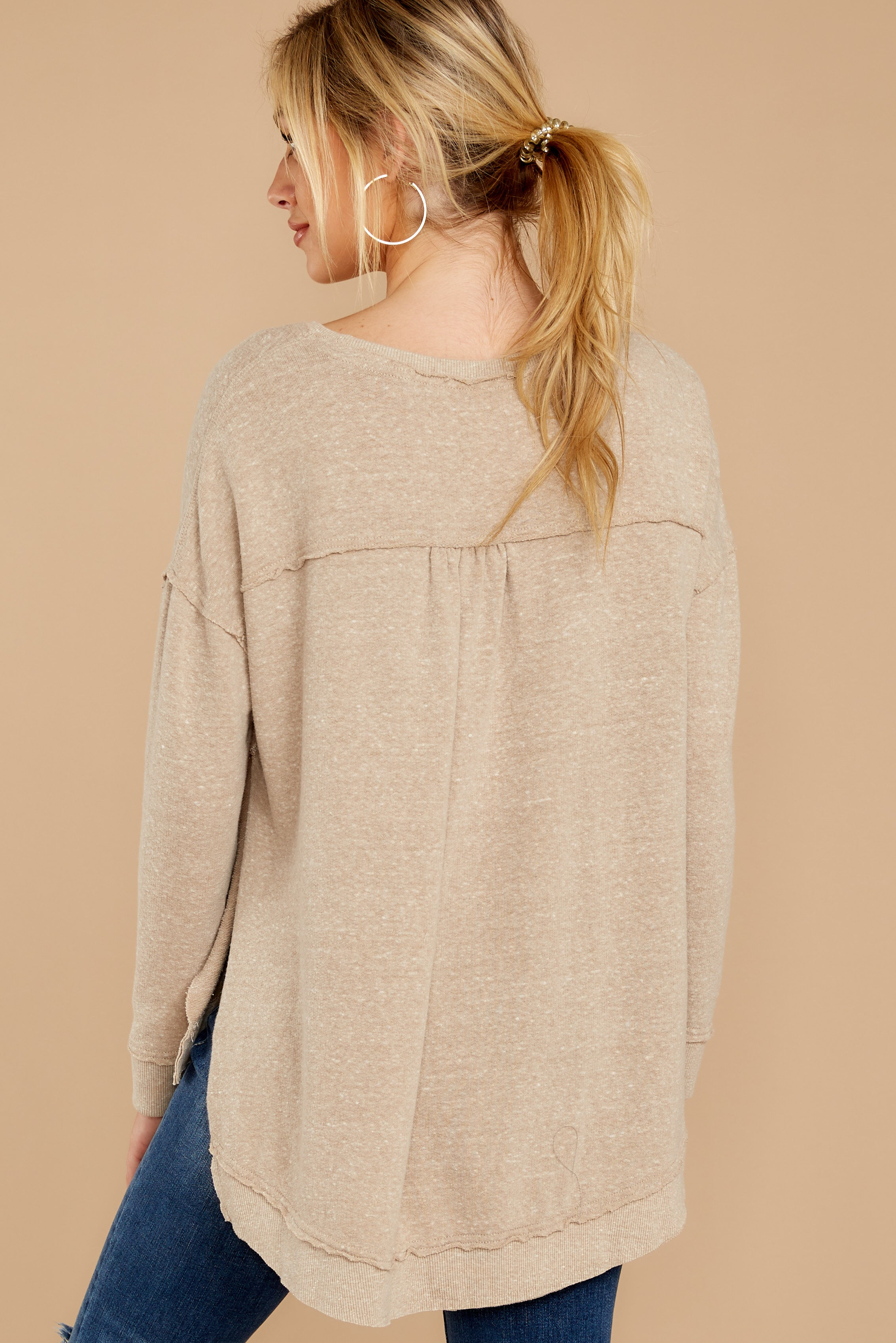 7 The Simply Taupe Triblend Vacay Pullover at reddressboutique.com
