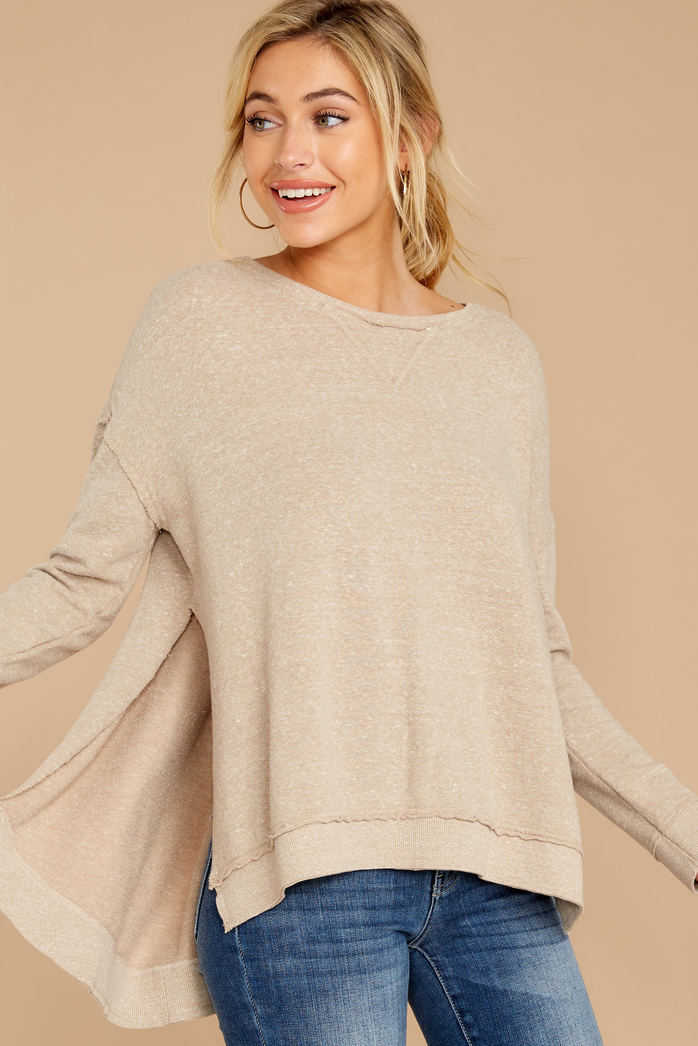 8 The Simply Taupe Triblend Vacay Pullover at reddressboutique.com