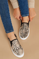2 No Missteps Beige Snakeskin Slip On Sneakers at reddressboutique.com