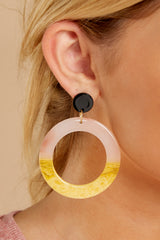 1 Outstanding Lines Pink Multi Acrylic Earrings at reddressboutique.com