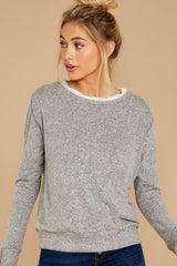 7 Casually Planning Heather Grey Top at reddress.com
