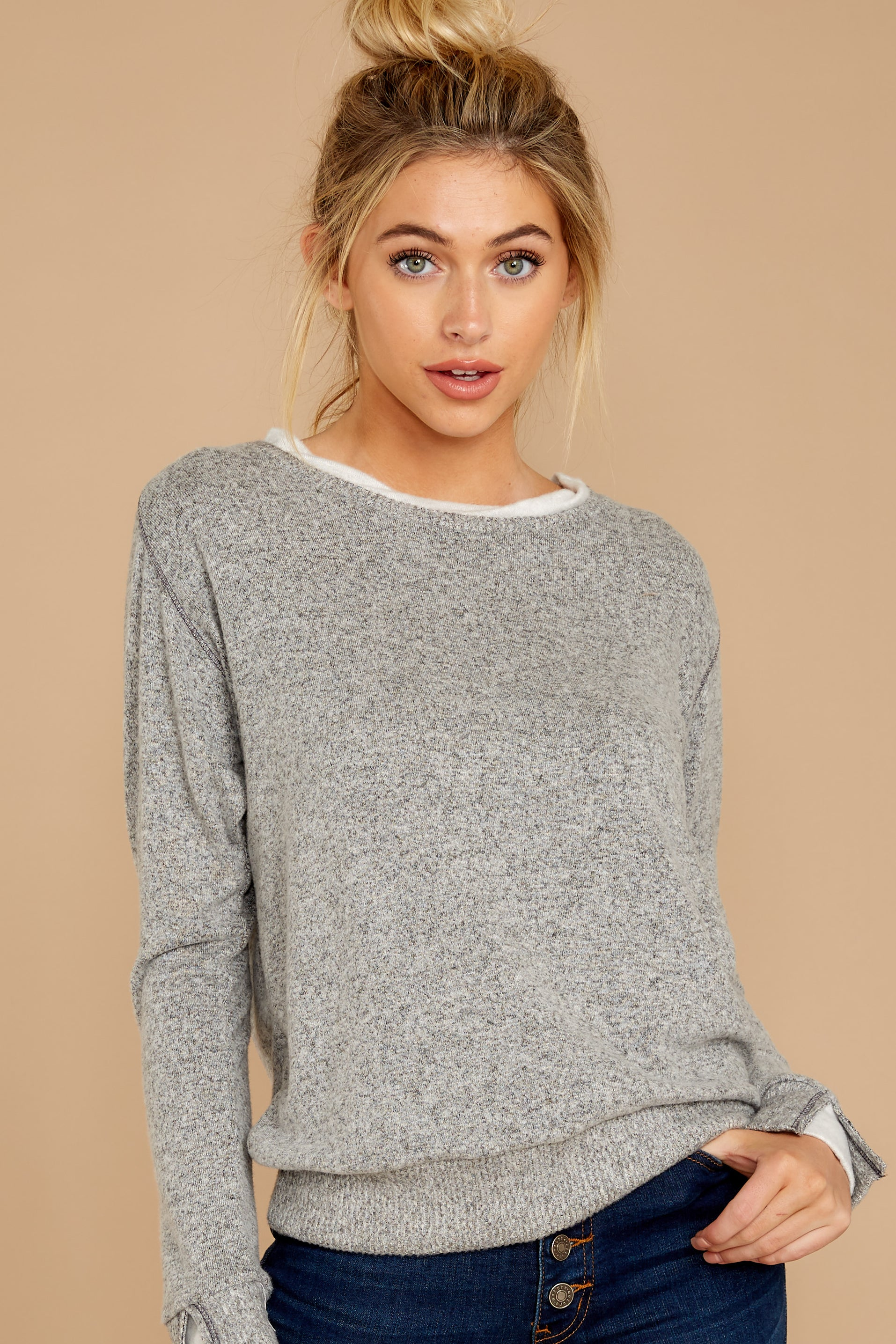 1 Casually Planning Heather Grey Top at reddress.com