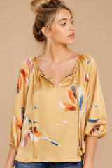5 On The Savannah Honey Floral Print Top at reddressboutique.com