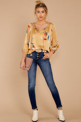 4 On The Savannah Honey Floral Print Top at reddressboutique.com
