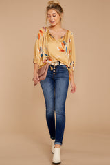3 On The Savannah Honey Floral Print Top at reddressboutique.com