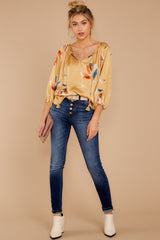 2 On The Savannah Honey Floral Print Top at reddressboutique.com