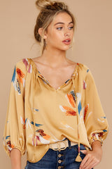 1 On The Savannah Honey Floral Print Top at reddressboutique.com
