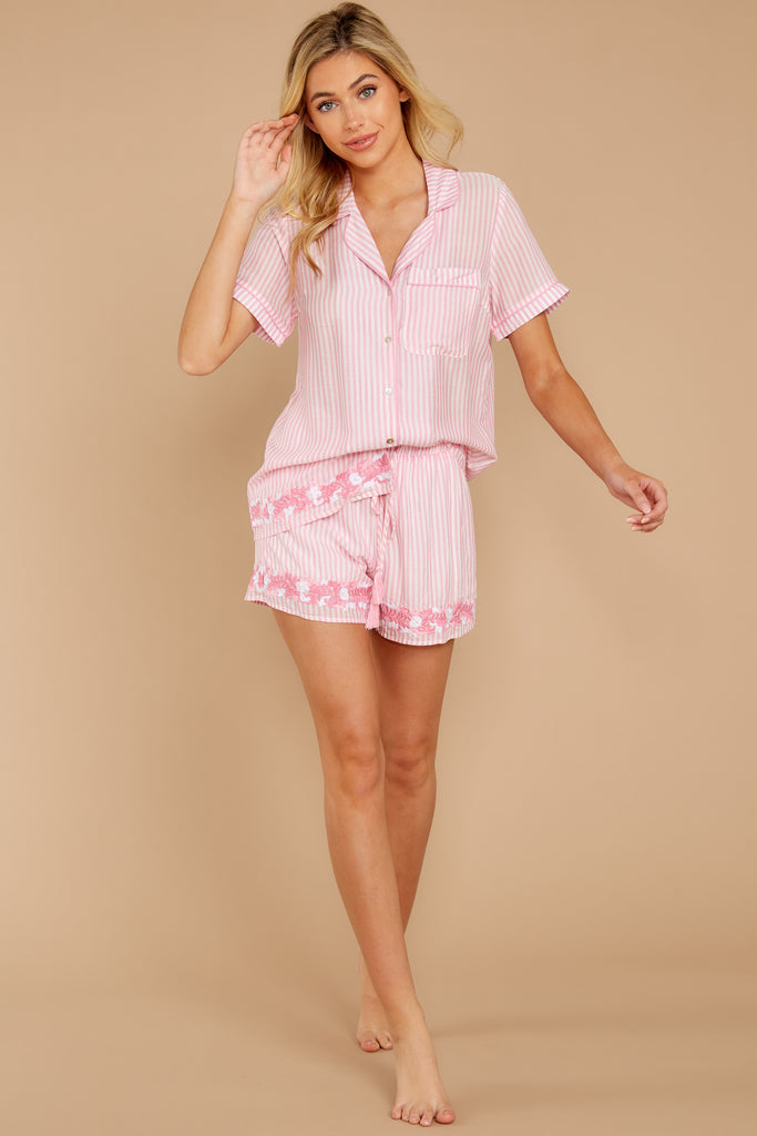 1 Chill Out Pink Stripe Pajama Shorts at reddressboutique.com